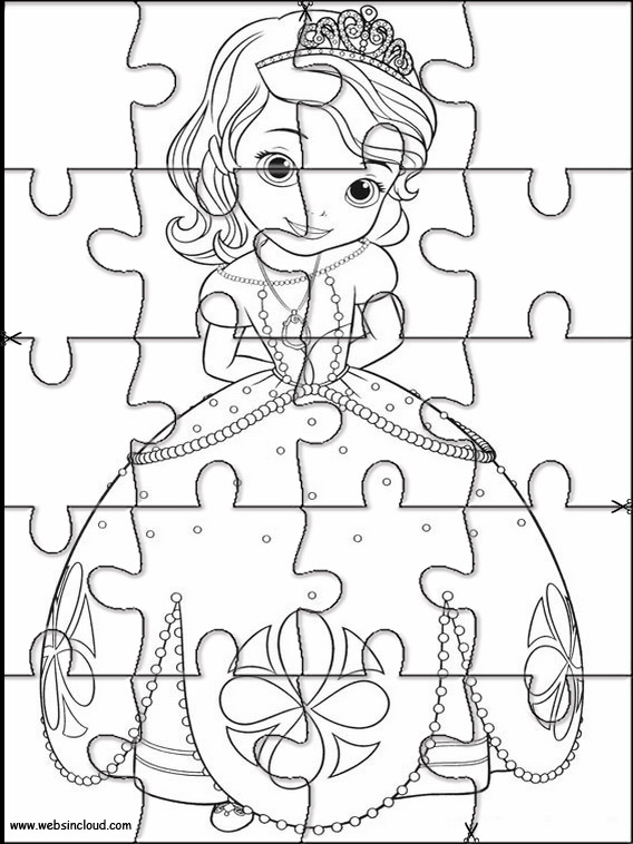Imrpimir actividades puzzles rompecabezas Princesa Sofia 6
