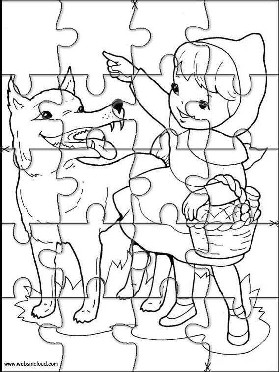 Little Red Riding Hood Printable Jigsaw Puzzles to cut out for kids 2