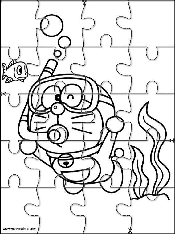 Puzzles Rompecabezas recortables para imprimir para nios Doraemon 1
