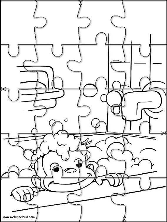 Puzzles recortables para imprimir para niños Jorge el Curioso 29