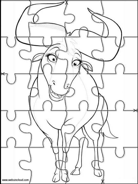 Puzzlespiele. Puzzles zum ausdrucken für Kinder Khumba 3