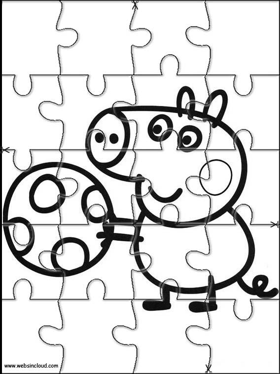 Puzzles recortables para imprimir para niños Peppa Pig 1