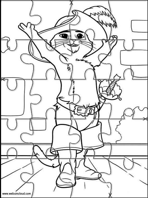 Imrpimir actividades puzzles rompecabezas Gato con Botas 20
