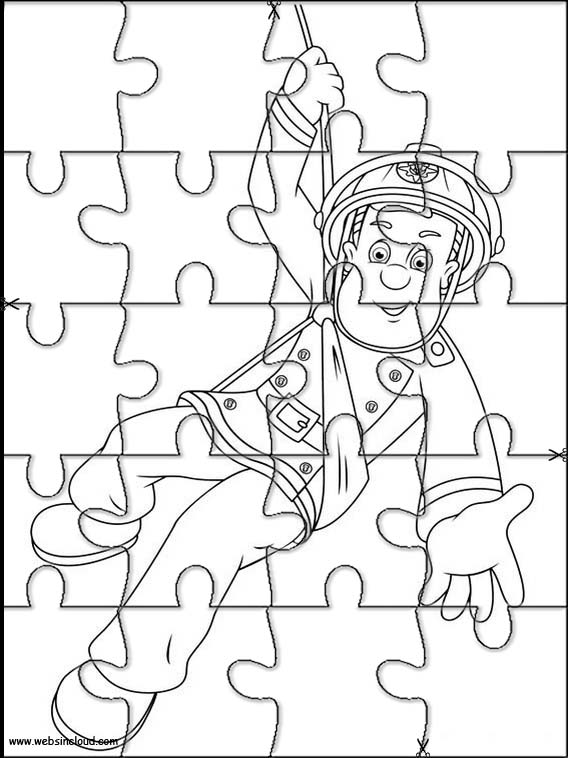 Fireman Sam Printable Jigsaw Puzzles to cut out 37