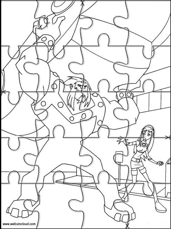 Puzzles recortables para imprimir para niños Jovenes Titanes 22